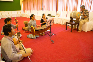 Cambodia traditional music performers with Mr. Ung Chinary at rehearsal