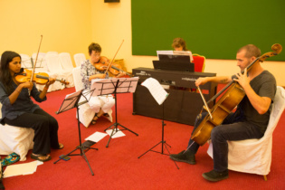 Western contemporary music performers at rehearsal